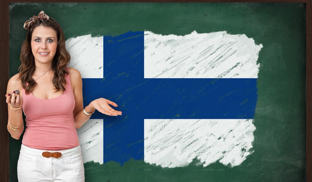 Chica y bandera Finlandia